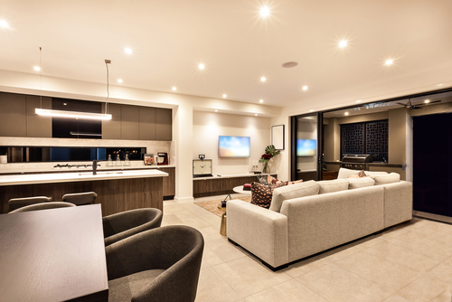 Lutron Lighting Systems Installed in a Kitchen Living Area